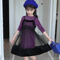 2018春秋韩版洋气儿童吊带裙休闲长袖T恤两件套女童秋装新款套装