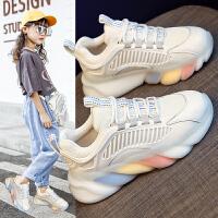 女童运动鞋女孩透气小白鞋儿童网面老爹鞋女童鞋子