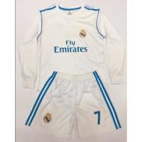 儿童足球服套装男女幼儿园小学生短袖足球训练服装小孩长袖足球衣 乳白色 长袖白皇-马