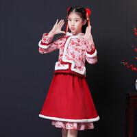 儿童唐装汉服洋气公主裙儿童礼服中国风连衣裙女童旗袍冬季新年装