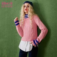 【2件3折】妖精的口袋棒球小子秋冬装新款高领撞色条纹短款毛衣女