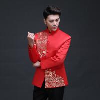 男士礼服汉服单上衣秀禾服唐装男古装新郎敬酒服中式婚礼红色西装