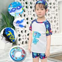 儿童泳衣男童分体中大童防晒游泳衣235岁速干小宝宝男孩泳裤套装 藕色 白彩龙六件套