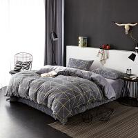 当当优品暖绒四件套 抗静电加厚细密保暖床品 双人加大1.8米床 灰蓝