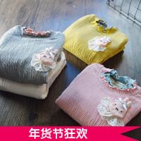 洋气撞色半高领打底衫 女童长袖T恤加绒加厚2017冬季新款韩版上衣