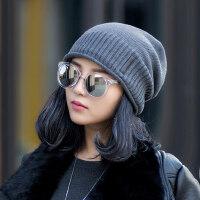 毛线帽子女潮韩版百搭简约日系保暖加绒针织套头帽