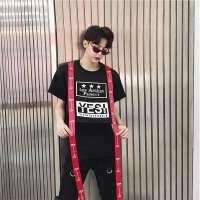 头原创潮牌织带短袖T恤男印花飘带嘻哈hiphop宽松半袖t恤