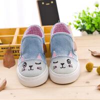 宝宝鞋春夏宝宝帆布鞋猫咪男女童牛仔布鞋幼儿园学步鞋