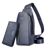 男士胸包休闲包包斜挎包运动单肩男包韩版背包包潮流时尚户外包包 拉链 蓝色手包