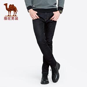 骆驼男装 2018秋季新款青年时尚韩版中腰微弹直筒水洗牛仔长裤男