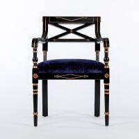 奇居良品新中式实木手工镂空靠背餐椅椅子扎瑞娜黑色手绘单椅