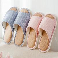 室内女家居防滑拖鞋 新款木地板亚麻透气拖鞋 日式情侣简约拖鞋男居家鞋子