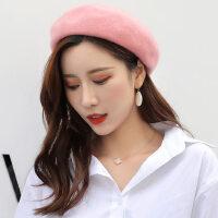 贝雷帽女士韩版潮流毛绒呢料复古蓓蕾帽英伦南瓜帽可爱画家帽