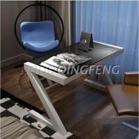 台式电脑桌组装钢化玻璃办公桌子家用简约现代写字台简易书桌 80*60黑面+白腿