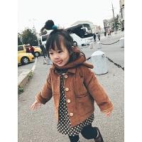 女童外套秋冬加厚洋气儿童灯芯绒童装大衣女宝宝长袖上衣