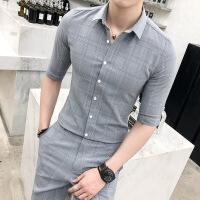 夏中袖格子衬衣男青年时尚九分裤套装韩版修身七分袖衬衫男两件套