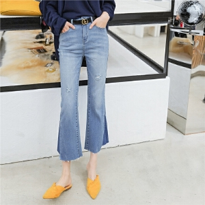 七格格浅色微喇叭牛仔裤女九分裤韩版学生夏季新款裤子女
