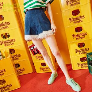 妖精的口袋魔法绘本夏装新款高腰蕾丝弹力牛仔裤短裤子女