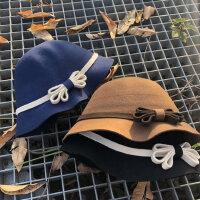 复古女士保暖盆帽 英伦休闲蝴蝶结礼帽 韩版百搭羊毛呢帽子女新款纯色帽子