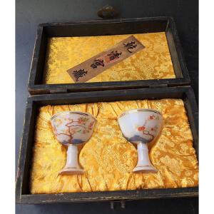 漆器描金盒,琉璃高脚杯