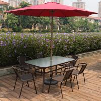 户外休闲铁艺桌椅凉台桌椅茶店外摆塑料藤椅桌椅奶茶店铺外摆桌椅