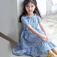 女童连衣裙夏款2018新款裙子中大童一字领漏肩公主印花背心裙中童