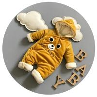 新生儿连体衣加绒宝宝冬装0-3-6个月男女宝宝婴儿爬爬服哈潮加厚9
