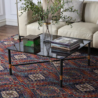 奇居良品 现代轻奢客厅系列利来国际ag手机版 卡瑞灰色钢化玻璃客厅方形茶几/咖啡桌