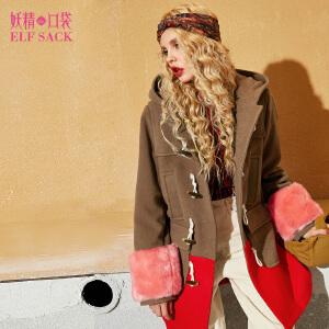 【尾品汇直降】妖精的口袋蒙古帝国秋装新款连帽宽松长款毛呢大衣外套女