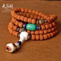 藏式玄武纹高密小金刚菩提子男士108颗手串佛珠文玩手链项链配饰