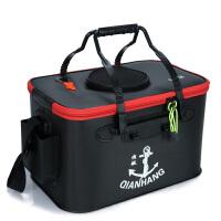 渔具活鱼箱养鱼桶钓箱 垂钓用品户外装鱼护水桶折叠钓鱼桶 黑色 黑色50加厚1.3MM