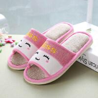 亚麻拖鞋女夏季韩版可爱居家室内情侣男家居防滑四季棉麻家用托鞋