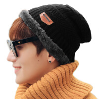 双层保暖加绒加厚针织毛线帽子可翻边男士冬季保暖帽子潮韩版冬帽