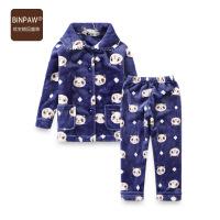 【今日秒杀价:39元】binpaw儿童套装 2019冬新款韩版舒适法莱绒满印熊头儿童居家套装