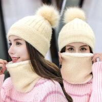 潮流百搭保暖女士帽子 新款时尚套帽潮女甜美护耳毛线帽子 韩版可爱加绒帽子女