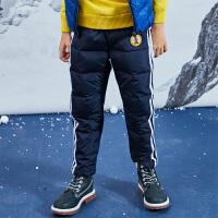 小猪班纳男童裤子秋冬装新款儿童羽绒长裤中大童厚