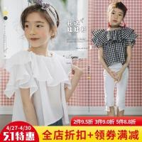 女童上衣短袖2018新款飞袖时尚T恤韩版潮款儿童夏装女百搭娃娃衫