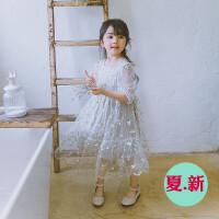超仙女童中长款公主裙儿童韩版刺绣花朵泡泡袖蕾丝连衣裙2018夏装
