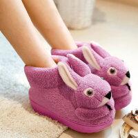 棉拖鞋女包跟可爱室内家用厚底毛毛加绒保暖家居卡通棉鞋