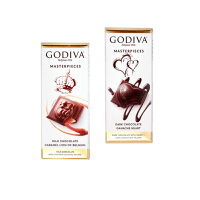 GODIVA歌帝梵 焦糖味牛奶巧克力1片+黑巧克力1片(2片/组)