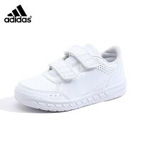 阿迪达斯(adidas)新款男女小童鞋训练魔术贴运动鞋小白鞋BA9524白色