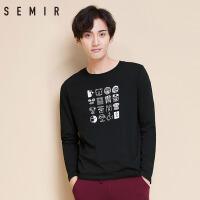 森马T恤 冬装新款 男士韩版卡通印花长袖T恤套头圆领针织衫潮