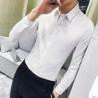 长袖衬衫男士修身韩版夜店发型师纯色衬衣商务休闲寸衣潮