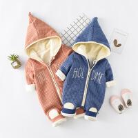 婴儿加厚连体衣男女宝宝新生儿外出抱衣春装3哈衣6春秋冬0-12个月