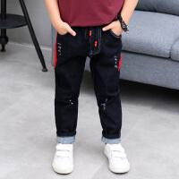 秋冬男孩帅气潮装童装韩版长裤牛仔裤宽松直筒男童8-9岁