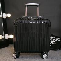 登机箱18寸商务拉杆箱万向轮16寸17寸小型行李箱迷你旅行箱男女轻 炫酷黑 海关锁 镜面 18寸 买一送十