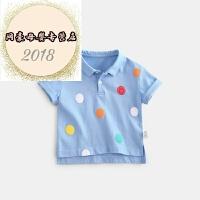 2018夏季新款婴幼儿波点印花短袖T恤男女宝宝翻领POLO衫潮