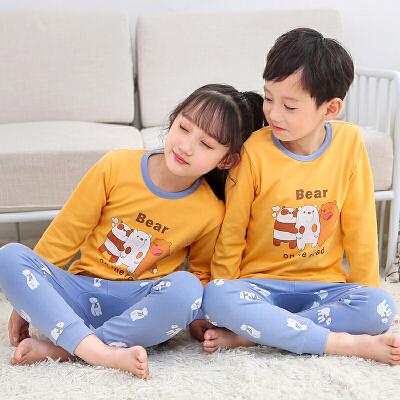 儿童内衣套装  男女童棉质卡通字母长家居服套装2019秋冬学生中小童睡衣两件套 男女童卡通字母睡衣套装