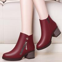马丁靴女春季2017新款百搭韩版学生厚底鞋女高跟短靴粗跟冬季女鞋