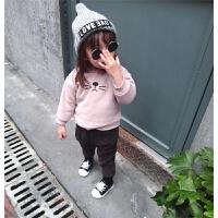 婴幼儿童装宝宝双层加绒耳朵卫衣卡通造型绣花外套上衣冬